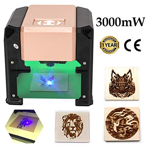 3000mW Laser Engraving Machine, Mini Laser Engraver Printer Desktop Laser Engraver Machine for DIY Logo Marking, Working Area 7.5X7.5CM