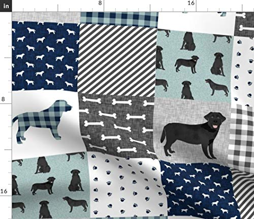 Labrador Retriever Fabric - Black Lab Quilt B Dog Breed Pattern Wholecloth Dogs Cheater Petquiltb Baby Print on Fabric by the Yard - Basketweave Cotton Canvas for Upholstery Home Decor Bottomweight