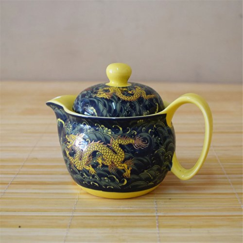 Kangkang@ Golden Dragon Porcelain Teapot, China Tea Kettle Gift for Friendlanjinlong Ceramic Teapot Tea Sea with Stainless Steel Filter Jingdezhen Colour