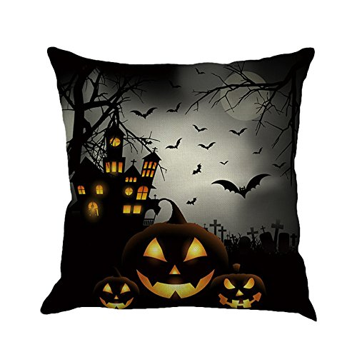 Happy Halloween Pillow Cases,Napoo 2017 Printed Flax Square Funny Pumpkin Castle Bat Owl Pattern Pillow Shams Sofa Throw Cushion Pillow Cover Cases 18x18 (A)