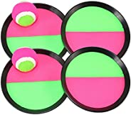 Toyvian Toys Toss and Catch Paddle Game Set Disc Paddles and Toss Ball Sport Game,4 Paddles and 2 Balls