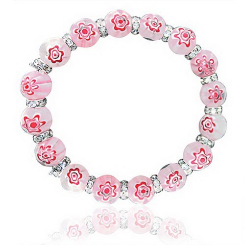 (JewelryVolt Stretchable Glass Bracelet - Pink Chinese Lantern Inspired Glass Crystals)