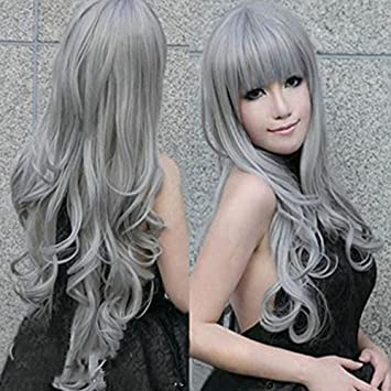 Amazon 2018 New Girls Wig With Long Curls Oblique Fre 80