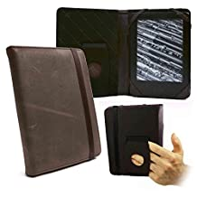 Tuff-Luv Embrace case cover for Sony PRS-T1 / T2 & Kobo Touch e-readers - 'Western' Leather - Brown