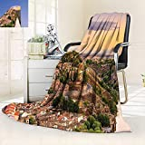 vanfan Supersoft Fleece Throw Blanket Collection Toledo Spain Old City Over The Tagus River Downtown Castle Architectural Ancient,Silky Soft,Anti-Static,2 Ply Thick Blanket. (62''x60'')