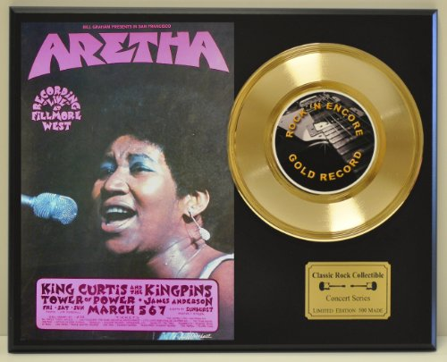 ARETHA FRANKLIN Limited Edition Gold 45 Record Display. Only 500 made. Limited quanities. FREE US SHIPPING ()