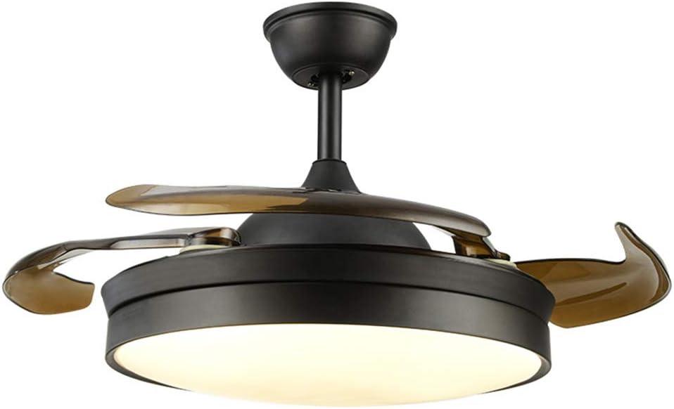 LED Ventilador De TechoVentilador De Techo Con Luz Con Aspas Retráctiles Transparentes, Silencioso, Con 3 Velocidades Y Control Remoto Con Mando A Distancia Negro