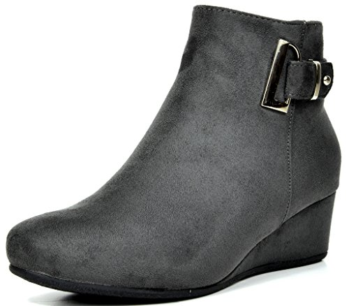 DREAM PAIRS LANG Women's Stylish Winter Faux Fur Lining Side Zipper Low Wedge Heel Booties Shoes GREY SIZE 7.5