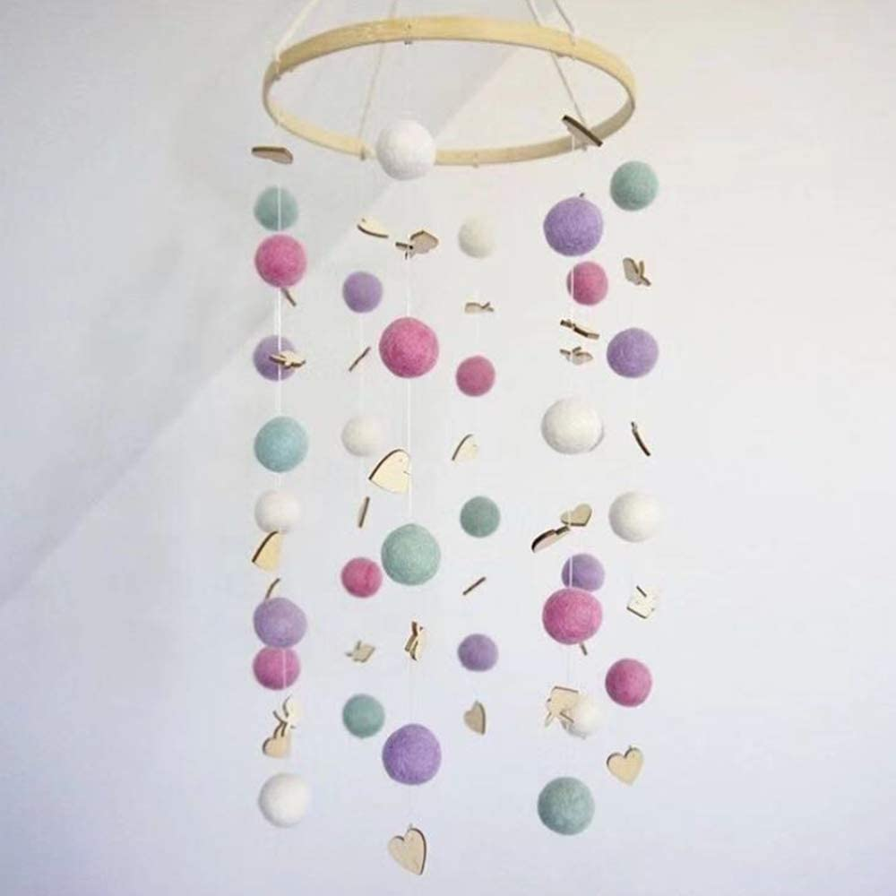 WDDH Baby Crib Mobile,Nursery Mobile Sleeper Mobile Felt Ball Wind Chime Hanging Ornament Baby Rattle Mobile for Your Boy or Girl Babies Bed Room