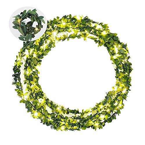 AMEISA Green Leaf Garland String Lights Battery Powered, Christmas Wedding Party Home Artificial Wreath lvf Vine Flexible Fairy Copper Decor Light, Warm White (32.8)