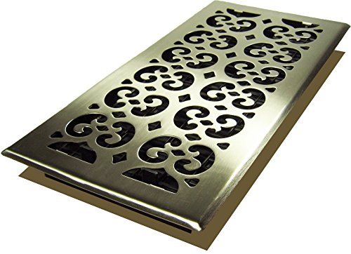 Decor Grates SPH614-NKL Scroll Floor Register, 6-Inch by 14-Inch, - Steel Nickel Floor Brushed Plated
