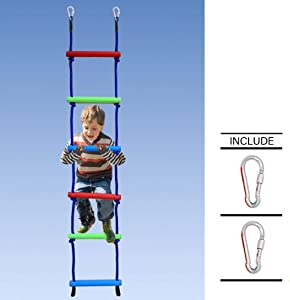 Trsmima 6.6 Ft Rainbow Climbing Rope Ladder for Kids, Nylon Rope and Plastic Six-Section Ninjaline Ladder, Indoor Play Set and Outdoor Playground Hanging Ladder for Swing Set, Ninja line Backyard