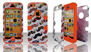 Apple iPhone 5C hybrid 3 in 1 Mustache with Orange Gel high impact shock defender plastic outside with silicone inside 3 in1 2D hard case phone cover