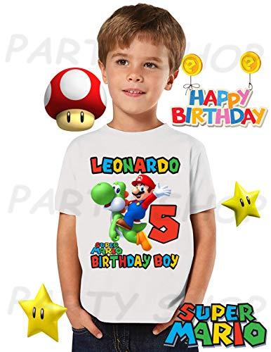Mario Bros and YoshiI Birthday Shirt, Mario Bros Birthday Party,ADD any name and age FAMILY Matching Shirts, Boys/Girls Birthday Shirts, Mario Bros Birthday Shirt, MARIO BROS UNISEX Shirt #2. ()
