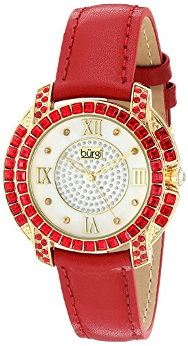 Burgi Women's BUR156RD Yellow Gold Quartz Watch With Diamond Mother of Pearl Swarovski Crystal Accented Dial & Bezel With Red Leather Strap - Swarovski Crystal Heart Watch