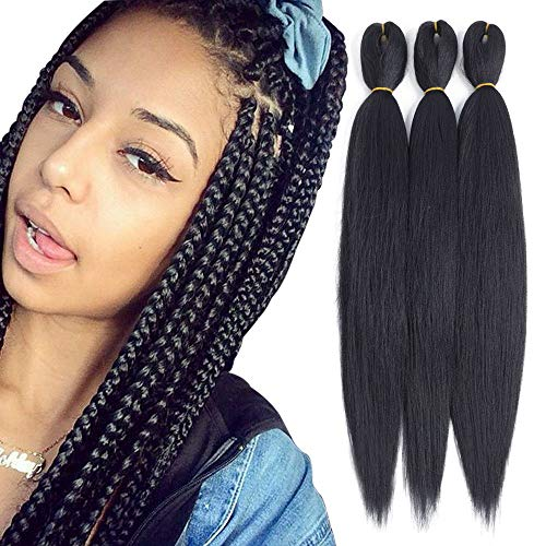 Befunny 8Packs 20Inch Synthetic Braiding Hair Pre Stretched Professional Ezbraid Human Hair For Crochet Braids Or Twist Itchy Free Yaki Perm Straight Low Temperature Dip in Hot Water Set Black 1B# (Expressions Hair)