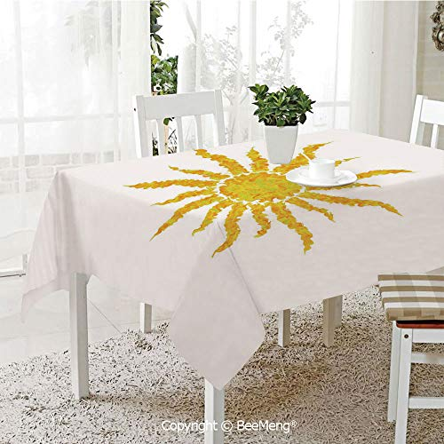 (BeeMeng Large dustproof Waterproof Tablecloth,Family Table Decoration,Sun,Artsy Grunge Star Drawing Circle and Stripes Abstract Center of Solar System Decorative,Marigold Pale Green,70 x 104)