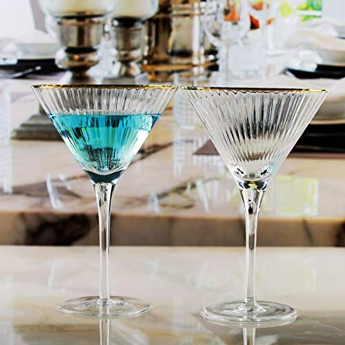 Circleware 76846 Tiara Gold Rim Optic Martini Wine Glasses, Set of 4 Home and Kitchen Entertainment Drinking Glassware for Water, Juice, Beer and Bar Liquor Dining Decor Beverage Gifts, 11.2 oz, Clear -