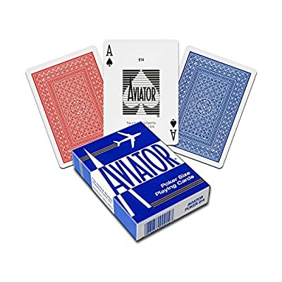 Aviator Standard Index Playing Cards - 5 Red Decks and 5 Blue Decks: Toys & Games