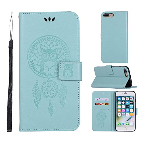 (iPhone 7 Plus/iPhone 8 Plus Case,Ztongy Wallet Case Campanula Owl Embossed PU leather Soft TPU Cash&ID card slot Bracket Function Protective Cover for iPhone 7 Plus/iPhone 8 Plus(Mint Green))