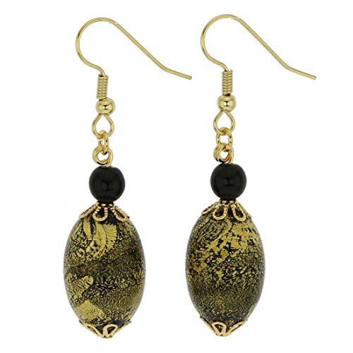 - GlassOfVenice Murano Glass Golden Glow Olives Earrings - Summer Night