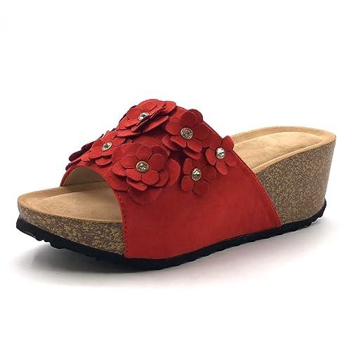Sandale Cm Compensé Mode Mule Angkorly Pratique Liège 6 5 Fleurs Confortable Chaussure Talon Femme RL45j3A