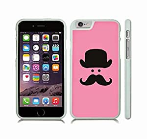 iStar Cases? iPhone 6 Case with Mustache and Bowler Hat on Pink Background, Minimalist Style , Snap-on Cover, Hard Carrying Case (White)