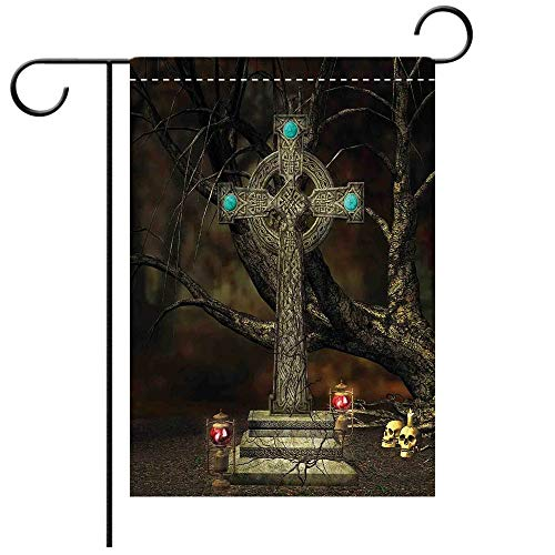 Artistically Designed Yard Flags, Double Sided Gothic Decor Gothic Cross Tree Grave Skulls Tombstone Lanterns Graveyard Night Art Decorative Deck, patio, Porch, Balcony Backyard, Garden or Lawn