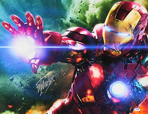 - Stan Lee Marvel Authentic Signed 20x24 Iron Man Canvas Autographed PSA #W18585