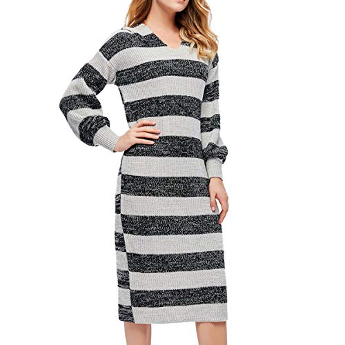 Giftu Women's Casaul Long Knitted Asymmetrical Striped Hoodie Sweater Dress (Medium-Large, Black)