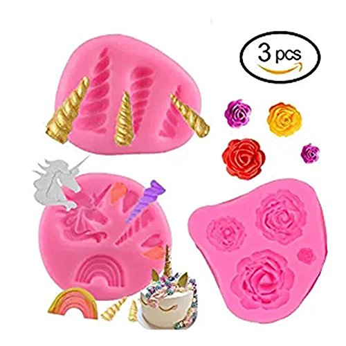 GmakCeder Unicorn Mold, Mini Cake Silicone Unicorn Mold Horn Ears Flower and Rainbow Cupcake Topper Fondant Chocolate Candy Unicorn Cake Mold Set For Baby Birthday Party (3Pcs) Infant Chocolate