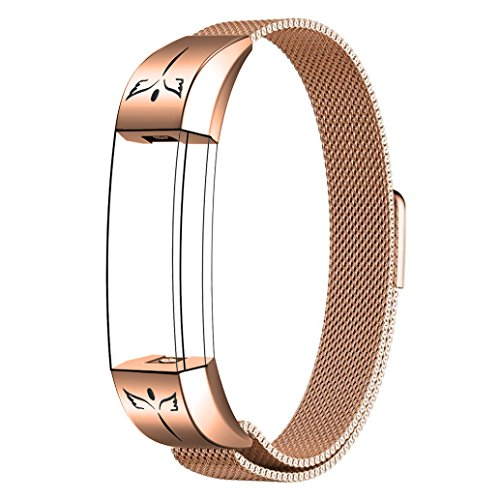 SWEES for Fitbit Alta HR and Alta Bands for Women Small, Milanese Stainless Steel Metal Replacement Band with Matte Connector for Fitbit Alta HR and Alta, Rose Gold, Black, Silver, Colorful by SWEES