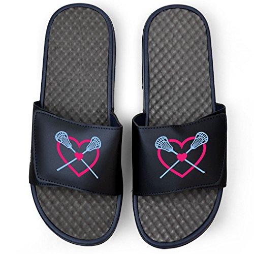 Chalktalksports Navy Girls Sandales De Lacrosse Slide - Coeur Lax Avec Des Bâtons Croisés Rose