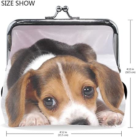 Cute Heart Dog Beagle Leather Womens Zipper Wallets Clutch Coin Case