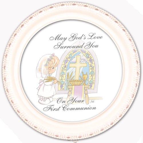 Cottage Garden Precious Moments 1St Communion Girl Ivory Tiny Round Treasure Box