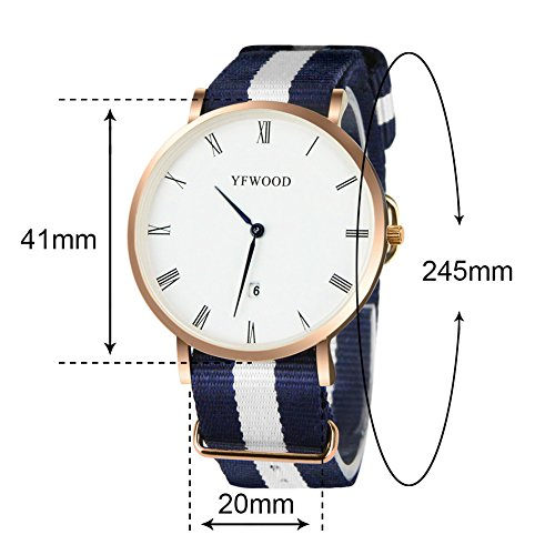 Quartz Watch Nylon Band Unisex Wrist Watch Classic Casual Waterproof Watch Round Dial Business Watch by THAITOO (Image #6)'