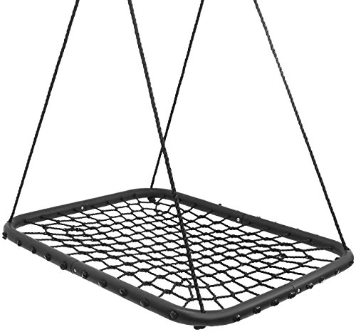 (Sorbus Spinner Net Platform Swing– Kids Indoor/Outdoor Rectangular Web Swing – Great for Tree, Swing Set, Backyard, Playground, Playroom – Accessories Included (40 inch Square, Black Net Seat))