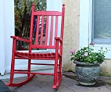 Oliver and Smith – Nashville Collection – Wooden Red Patio Porch Rocker- Rocking Chair – Made in USA – 24.5″ W x 33″ D x 46″ H