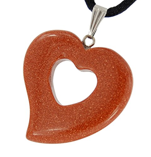 - Big Heart Collection - 30mm Double Sunstone Brown Golden Sparkle - 20