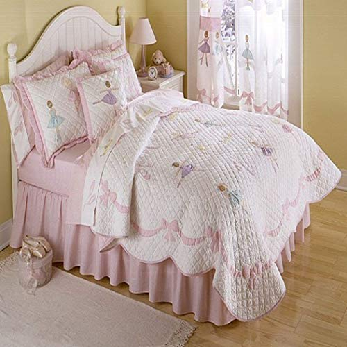 - 2 Piece Girls Light Pink Ballerina Theme Quilt Twin Set, Pretty Girly All Over Ballet Dance Lessons Bedding, Beautiful Cute Fun Dancing Dancer Bordered Bow Themed Pattern, Rose Pale