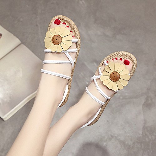 Sandalen Flops Flip Blumen Kingko fläche fläche Sandalen Mode Schuhe Sommer kingko Frauen Komfort Weiß Flip Sommer Sandalen Damen Sandalen qxaItS6