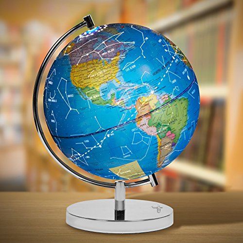 """LED Light Up Globe with Bluetooth Speaker, Chrome Base and Detailed World Map - Constellations Glow at Night – Projects Star Lights on Ceiling as Nightlight - 12.5 x 9"""" - by ToyThrill Photo #4"""