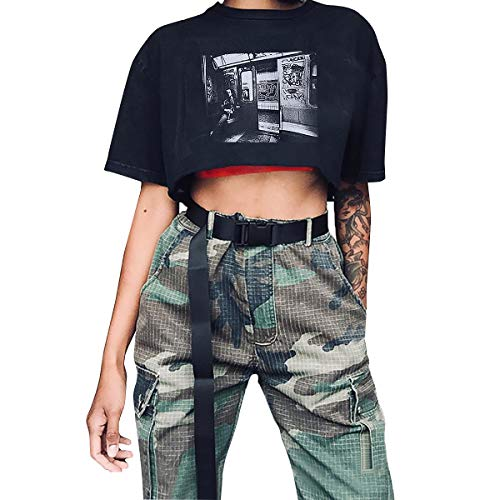 Canvas Web Belt for Women, Cool Cargo Belt with Plastic Buckle Hip Hop Style Waist Belt for Dress Black S