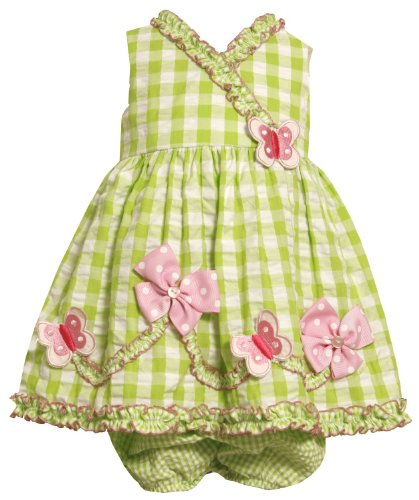 Baby Girls 3M-24M Green/White/Pink Butterfly-n-Bows Seersucker Dress (12 Months, Lime) ()