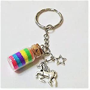 Enchanted Rainbow unicorn Keychain, unicorn accessories, rainbow keys, pride, girls Keychain, unicorn key ring, magical rainbow unicorn dust,