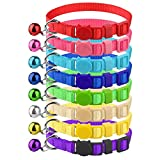 Milliepet 8 Pcs Cat Collars Breakaway with Bell Nylon Colorful Adjustable for Kitty