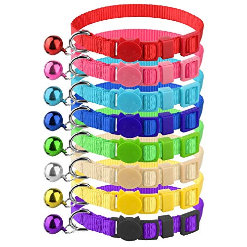 Mtliepte 8 Pcs Cat Collars Breakaway with Bell Nylon Colorful Adjustable for Kitty