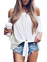 Womens Solid Off The Shoulder Tops 3 4 Flare Sleeve Tie Knot Blouses and Tops