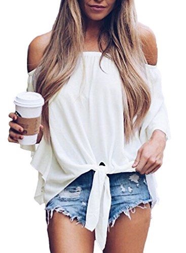 (Asvivid Womens Solid Off The Shoulder Flare Sleeve T-Shirt Tie Knot Blouses and Tops Small White)