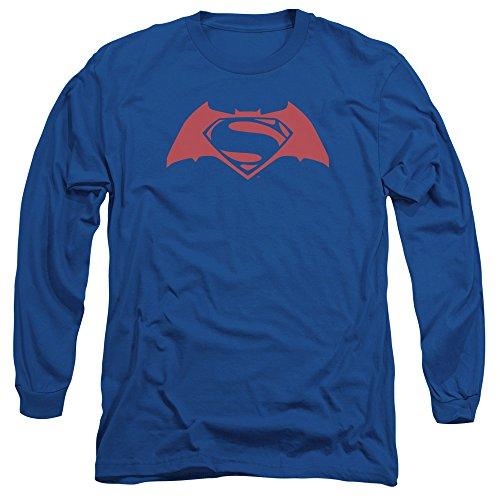 Trevco Men's Batman V Superman Simple Logo Long Sleeve Adult T-Shirt at Gotham City Store